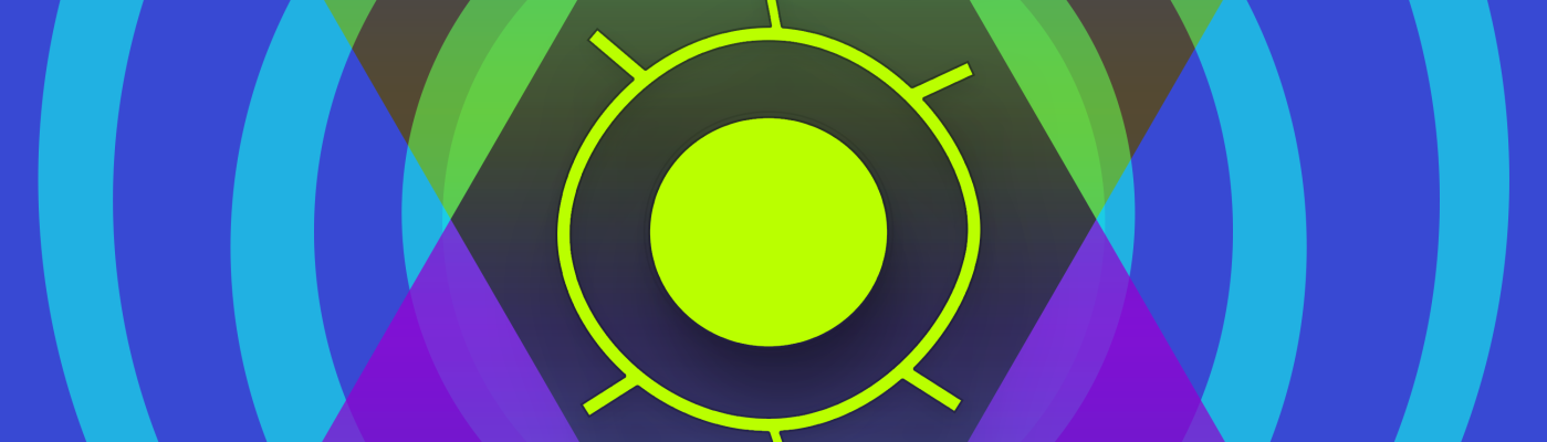 ID: A blue and purple background made up of haphazardly overlapping circles. In the middle is a bright yellow rudimentary drawing of an eye in the middle of opposite facing overlapping triangles. The words Sick Sad World are written at the top and bottom of the icon.