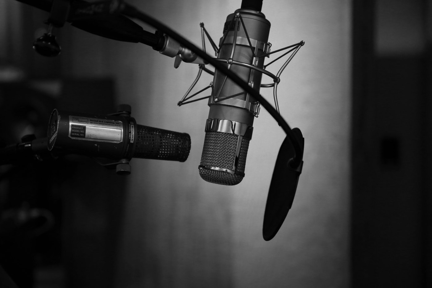 ID: A grayscale photo of a microphone set-up