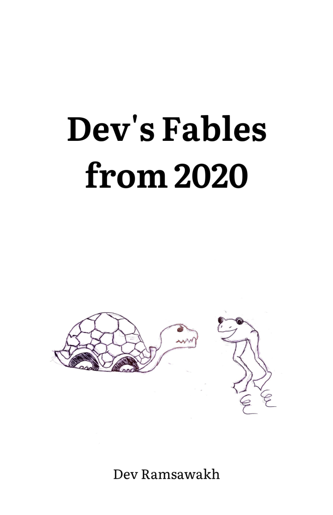 Text: Dev's Fabls from 2020  A hand drawn illustration of a happy frog and grumpy turtle.   Text: Dev Ramsawakh